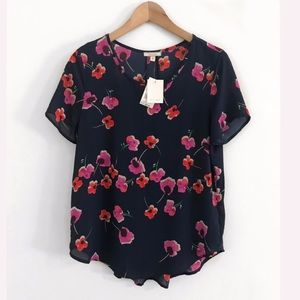 NWT Floral Top Blouse Shirt Size S